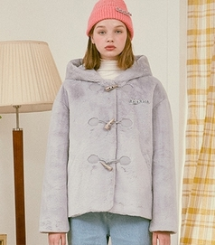 RolaRola-外套 <br>로라로라-(JK-20705) FAKE FUR HOOD JACKET GRAY