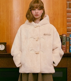 RolaRola-外套 <br>로라로라-(JK-20705) FAKE FUR HOOD JACKET IVORY