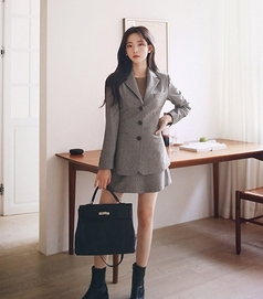 milkcocoa-短裙<br>밀크코코아-Amelie dress line.modern check skirt